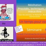 Séminaire 2 jours : Un temps pour vous : Méditation méthodes - Libération, nettoyages