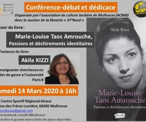 Conférence-débat et dédicace : Marie-Louise Taos Amrouche, Passions et déchirements identitaires
