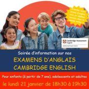 Examens d\'anglais Cambridge English - soirée d\'information