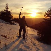 Raquettes au coucher du soleil