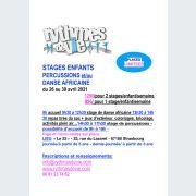 Stages d\'avril 2021 de danse et percussions pour enfants