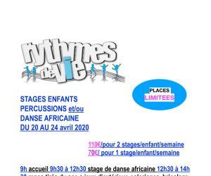 Stage enfant de danse et percussions
