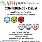 Conférence-débat : La colère et les émotions
