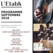 Programme de Rentrée 2018 à L\'Etabli