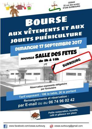 Bourse aux vêtements et jouets puériculture à Surbourg 2017