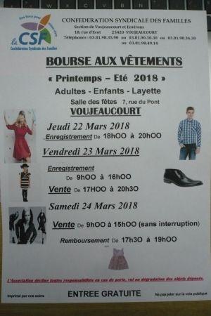 Bourse aux vêtements Printemps - Été à Voujeaucourt 2018
