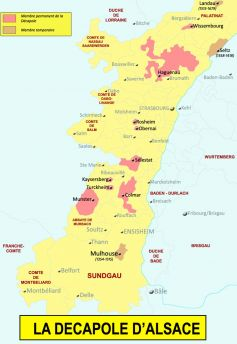 Carte de la Décapole, avec Haguenau pour capitale
