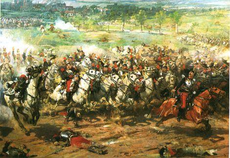 Une des multiples représentations de l\'héroïque charge des cuirassiers, ici d\'Aimé Morot