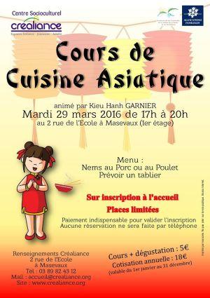 Cours de cuisine asiatique masevaux atelier culinaire - Cours de cuisine launaguet ...
