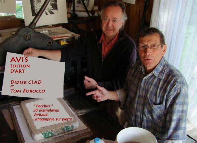 Tom Borocco et Didier Clad à la presse lithographique