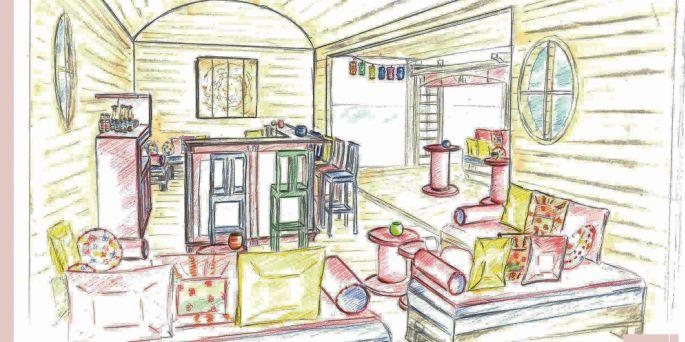 Un croquis de Cybèle pour l'aménagement d'un bar lounge