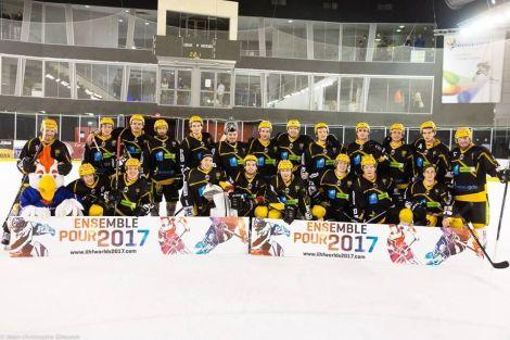 L\'équipe de hockey Etoile Noire de Strasbourg sur la glace