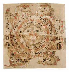 Genizah de Dambach-la-Ville, Tableau de prières pour la Soukkah, fin du xviiie siècle, Strasbourg, Musée Alsacien.