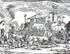 Gravure de Jacques Callot représentant un village pillé et détruit pendant la guerre de Trente Ans