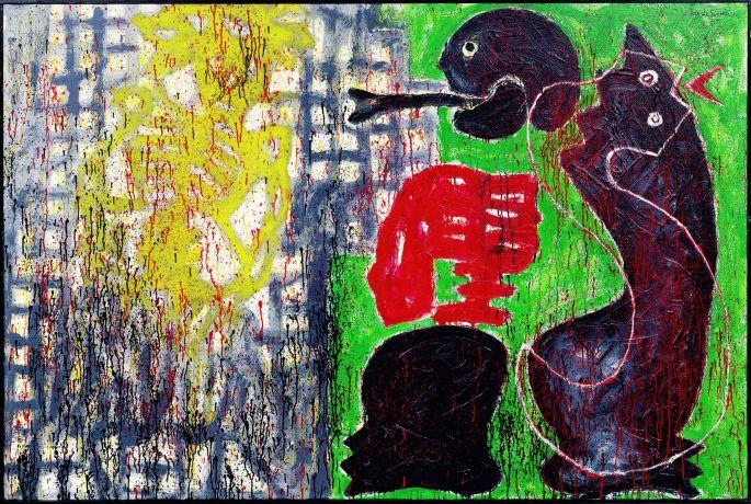 José de Guimarães - Série México : Visão de Calavera - 1997 - 130 x 195 cm - Acrylique et techniques mixtes sur toile - Collection Würth, Inv. 5322