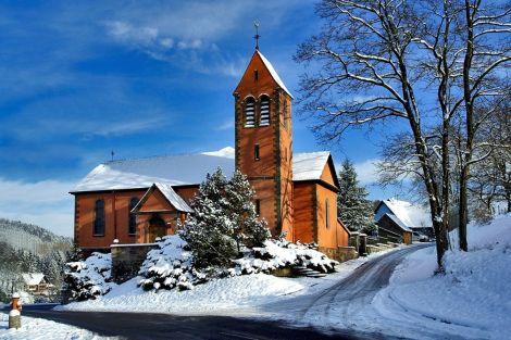 L\'église de Tieffenbach, ici sous la neige