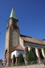 L\'église Saint-Boniface au centre de Burnhaupt-le-Haut