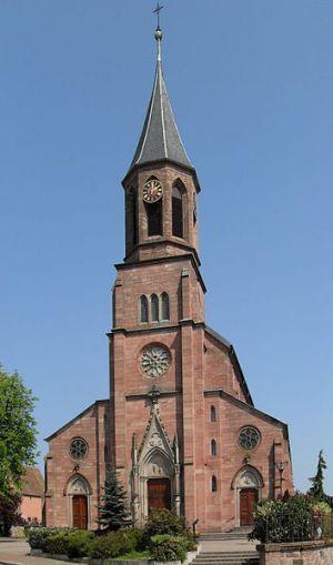 L\'église Saint-Martin de Wihr au Val dans le Haut-Rhin, en Alsace
