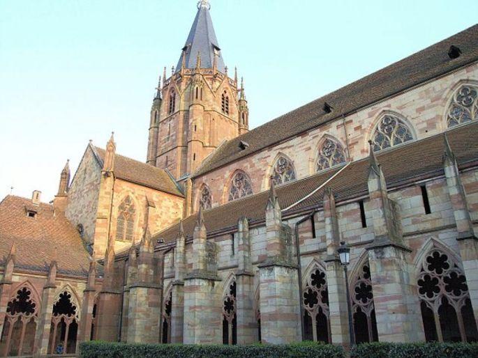 L\'église Saint-Pierre et Saint-Paul de Wissembourg arbore fièrement ses éléments gothiques