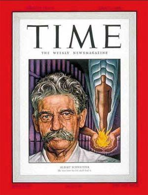 La couverture du Time Magazine le 11 juillet 1949, dédiée à Schweitzer