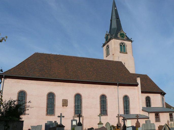 La façade extérieure de l\'Eglise catholique Saint-Grégoire d\'Ohnenheim