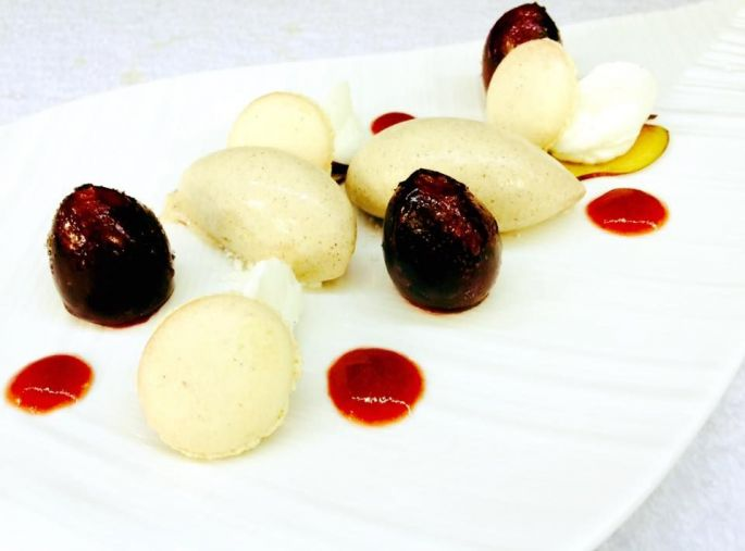 Un dessert à base quetsches d\'Alsace proposé au Gavroche