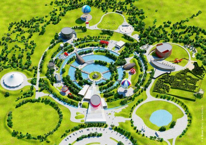 Le plan du Parc du Petit Prince, tel qu\'il est prévu avant son ouverture