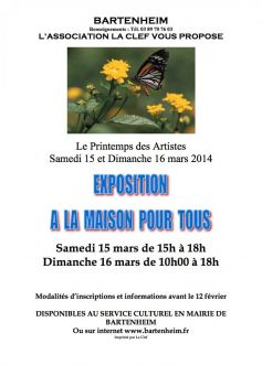 Exposition le printemps des artistes bartenheim 2016 for Association maison des artistes