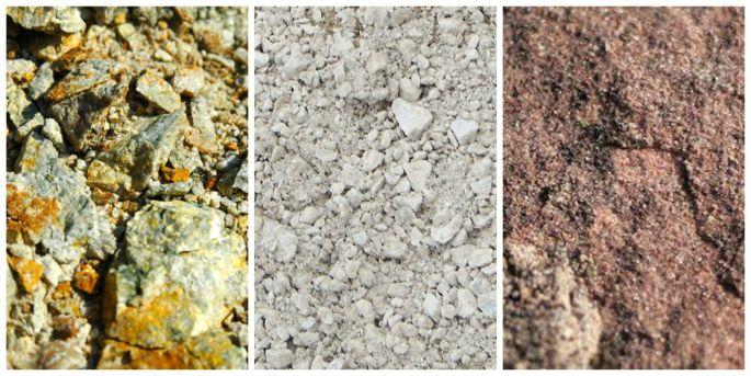 Granite, calcaire et grès.