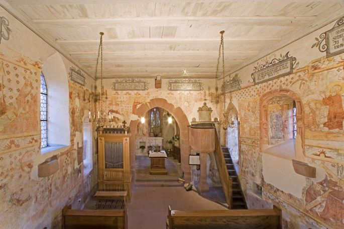 Les fresques du temple de Weiterswiller sont d\'une conservation impressionnante