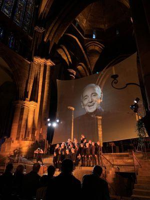Un concert, hommage à Aznavour, lors de la Nuit des Cathédrales 2019 à Strasbourg