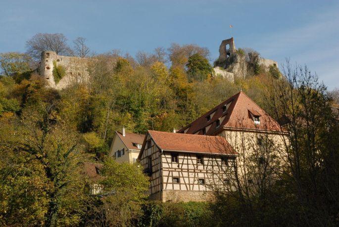 Une vue du château de Ferrette, dans le Sundgau