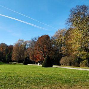 Un parc en pente douce et à la pelouse bien homogène