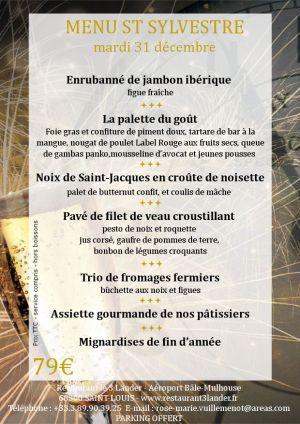 Le menu du 31 décembre 2019 au restaurant 3 Länder