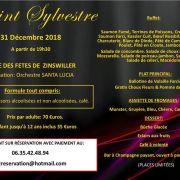 Réveillon de la Saint Sylvestre 2018-2019 à Zinswiller - Salle des Fêtes - COMPLET