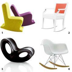 Revisités sous toutes les coutures par des designers le rocking chair revient à la mode.