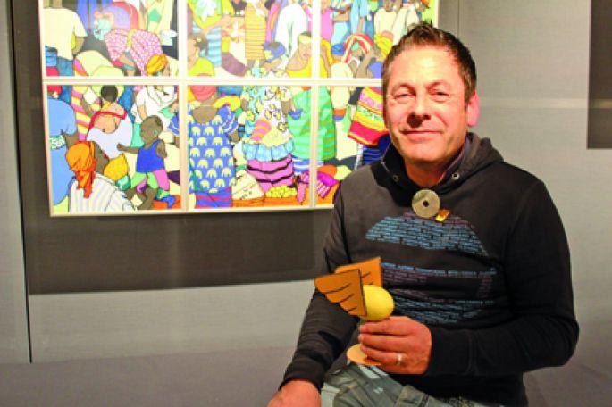 Romain Burgy et son citron ailé qui hante son oeuvre, et porte ses messages dans le monde