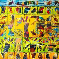 Sabine Mugnier,  80 x 80 cm  Peinture sur mosaïque de photos