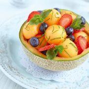 Salade fraiche au melon et aux fraises