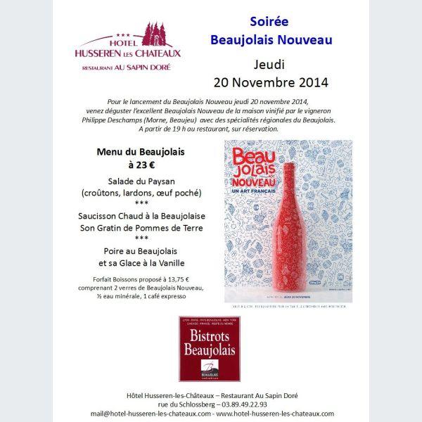 Soir e beaujolais nouveau husseren les ch teaux actu - Idee menu pour soiree beaujolais ...