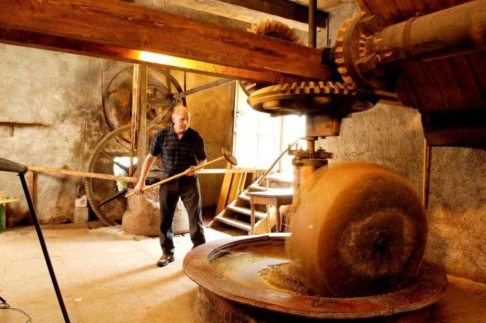 La roue en marche du Moulin à Huile de Storckensohn