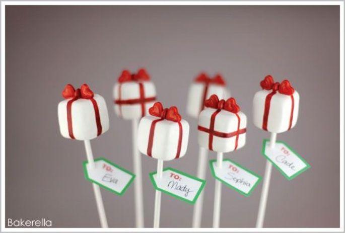 Sucette pop-cake en forme de cadeau