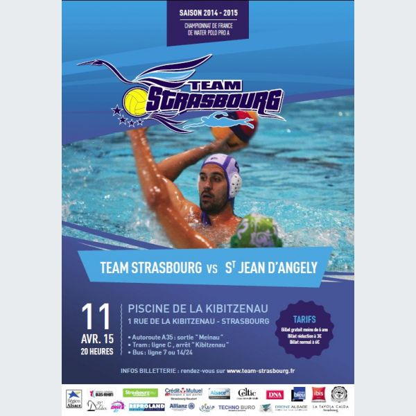 Water polo pro a 14 15 strasbourg vs st jean d 39 angely for Piscine 8eme