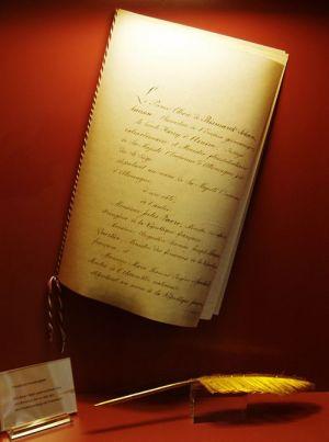 L\'original du Traité de Francfort, signé à la fin de la guerre de 1870-71, à l\'origine de nombreuses particularités alsaciennes
